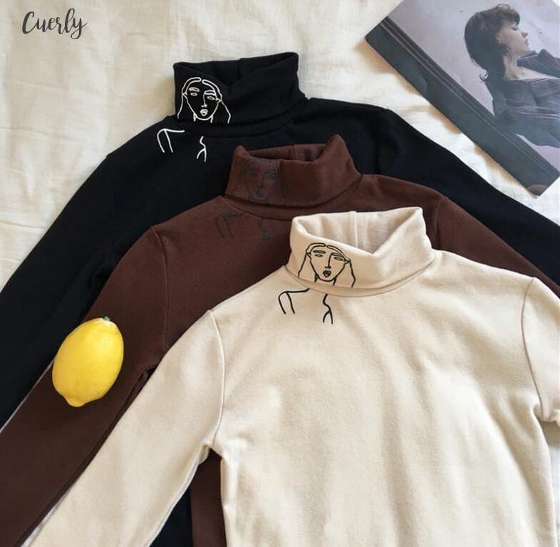 2,020 스퀘어 넥 새로운 패션 여성 의류 가을 새로운 높은 칼라 긴 소매 슬림 프린트 T 셔츠 여성 드롭 배송