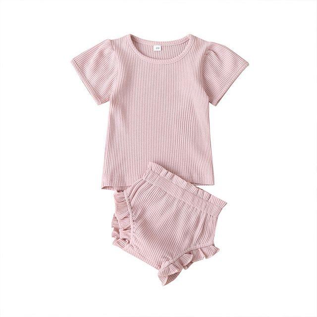 Bebek Kısa Kollu + Pantolon Kıyafetler Yaz 2020 Çocuk Butik Giyim 0-2T Erkekler Kızlar Ev Casual 2 PC Seti Soğukları Wear Tops