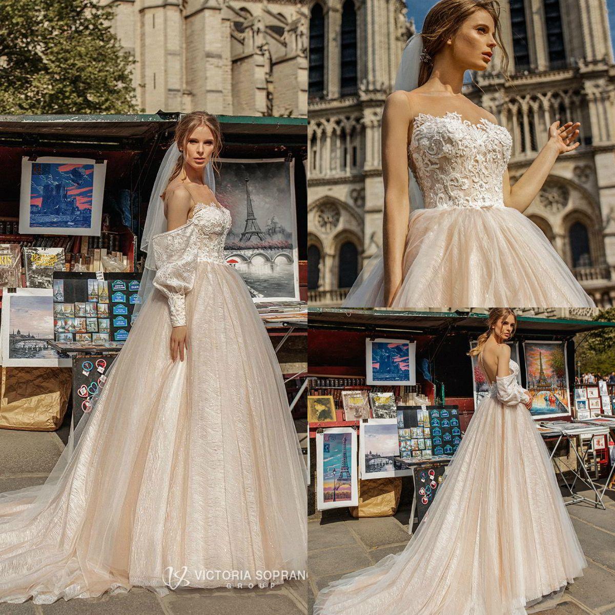 Victoria Soprano 2019 vestidos de boda de la joya del hombro de barrido de los brillos de manga larga de encaje de tren vestidos de novia más el tamaño de la playa Robe de mariée