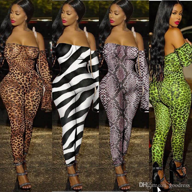 Women sexy off shoulder jumpsuits leopard Zebra snake print long sleeve pants rompers strapless bodysuit Nightclub Clubwear party clothes