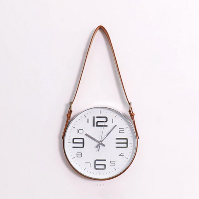 Nordic Modern Style Mute Rope Hanging Clock Wall Clock Novel Round Silent Decor For Study office bedroom living room