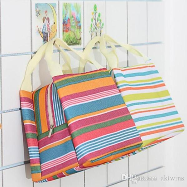 Bolsas de almacenamiento Bolsa de conservación de calor de alimentos impresos de rayas Bolso aislado térmico Caja de almuerzo WY317Q