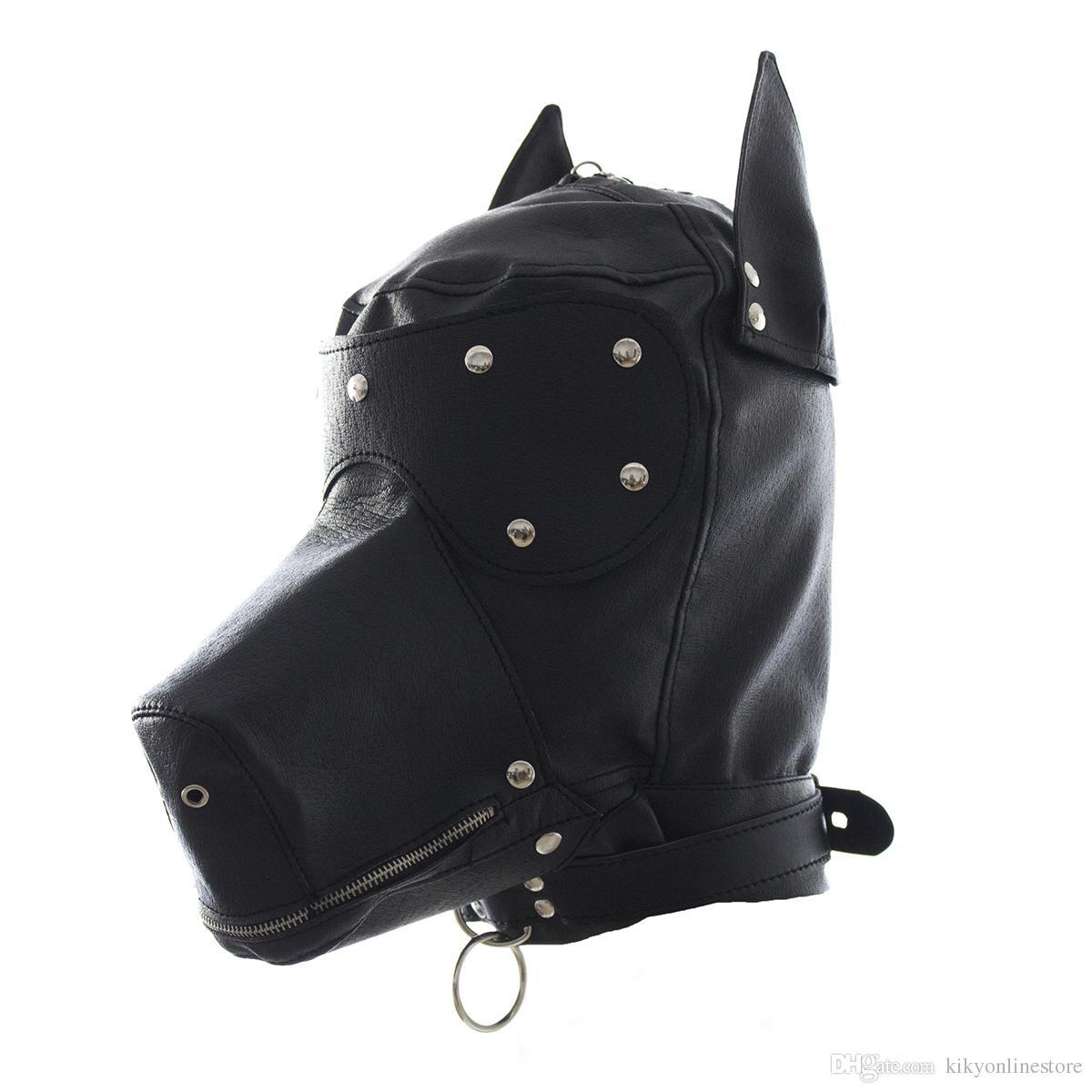 Fetish PU Leather SM Hood Dog Mask Head Harness Sex Slave Collar Leash Mouth Gag BDSM Bondage Blindfold Sex Toys For Couple