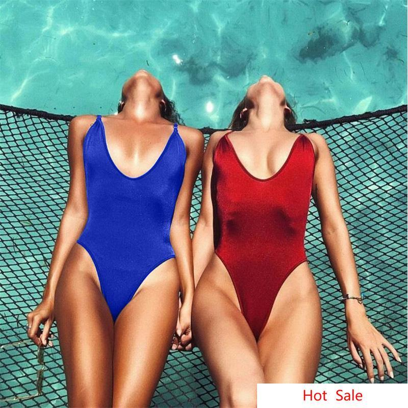 Strand Bikinis Frauen Badeanzug einteilig Niedrige Tasse Anzüge Strand Damen Sexy Deep V-ausschnitt Bikini Bademode für Verkauf SXung