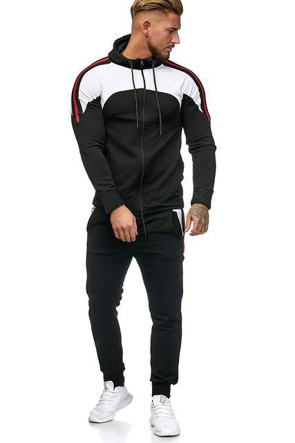 Männer Spotrs Anzug Zwei Stücke Set Zipper-Jacke Sweatshirt Hosen-Mann Hoody Jogging Anzug Sport Outfit 5XL