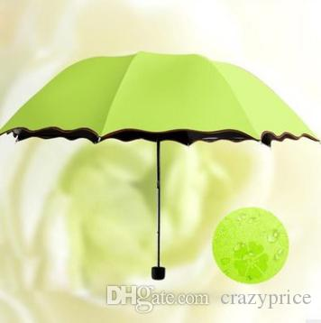 Umbrellas Magic Flowers Lady Parasol Dome Sun Rain Umbrella Portable Folding Umbrella Black Coating 6 Colors Free Shipping DSL-YW2373