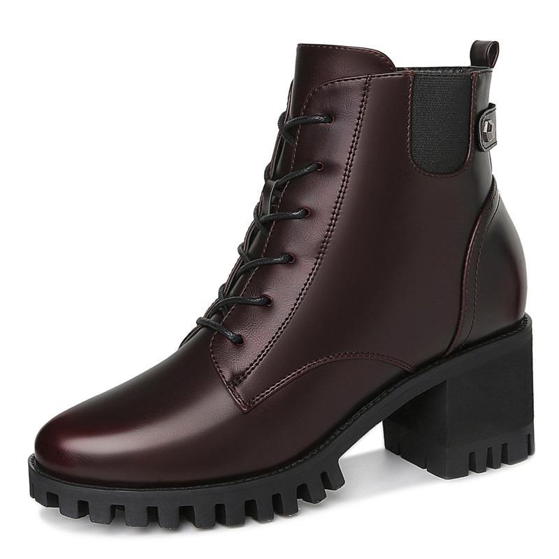 Alta calidad botas de invierno de las mujeres de tacón alto de las mujeres zapatos de punta redonda de cuero genuino botas de invierno de las mujeres bombas de la manera 3-38