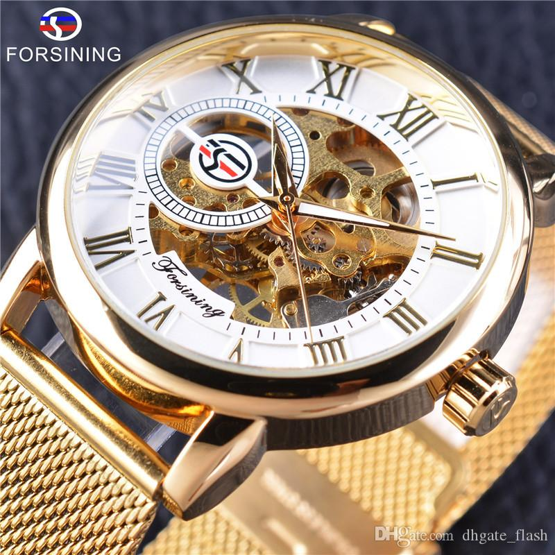 Forsining Mens Design Skeleton Mechanical Watch Luminous Hands Transparent Mesh Bracelet for Men Top Luxury Wristwatches