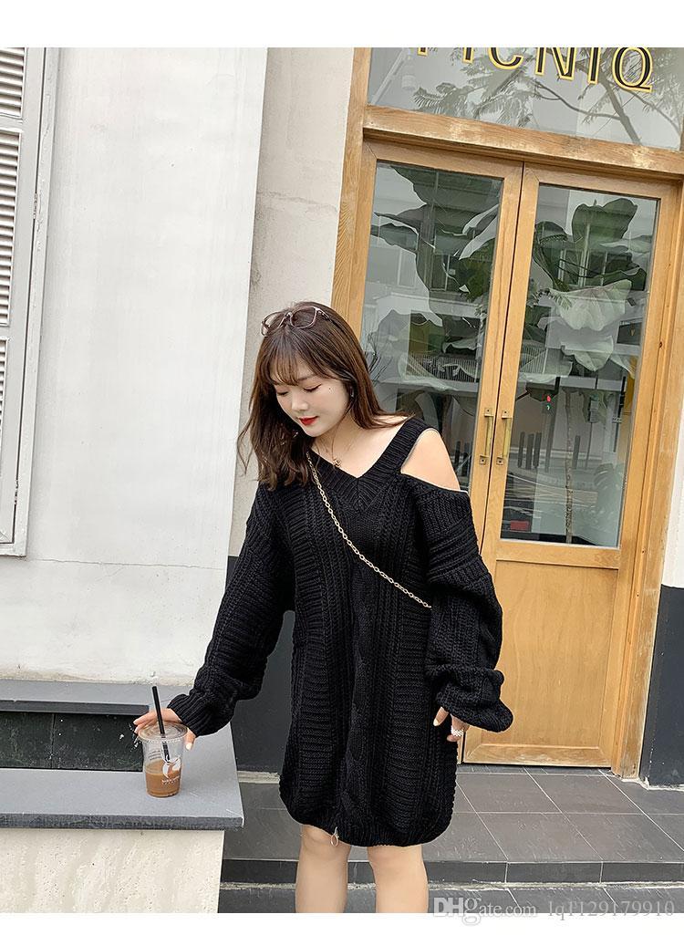 Doppia giorno maglione 2020 di più-formato delle donne vestito da autunno / inverno nuovo grasso mm plus-size cerniera torcere filo spesso maglione ST029