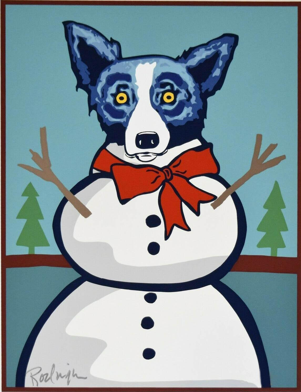 A136 # George Rodrigue Blue Dog Frosty The Snowman Home Decor pintado à mão HD Imprimir pintura a óleo sobre tela Wall Art Canvas Pictures 200116
