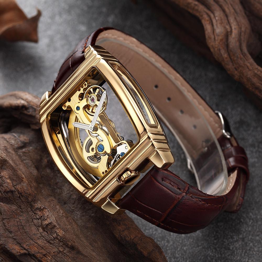 Mens Transparent Montres mécanique automatique Montre bracelet en cuir Top Steampunk remontage automatique horloge Homme homme montre