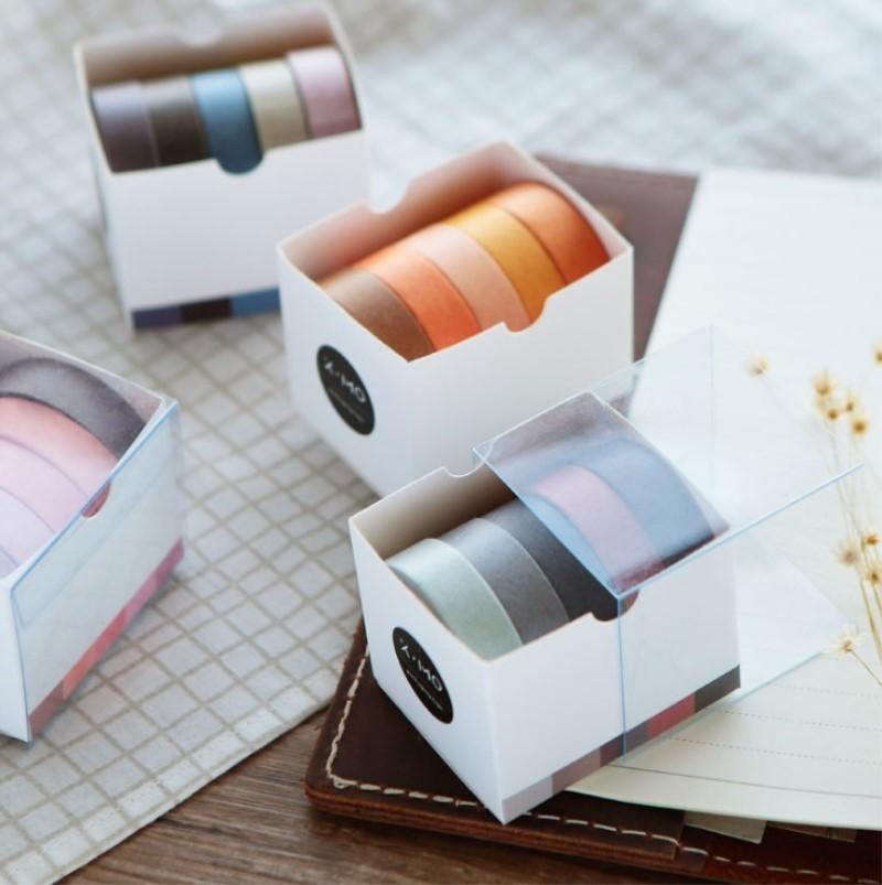 5 Rolls / Set Pure caduta nastro di colore mascheratura Washi Sticky carta adesiva stampa fai da te di Scrapbooking Deco nastro Washi Lot 2016