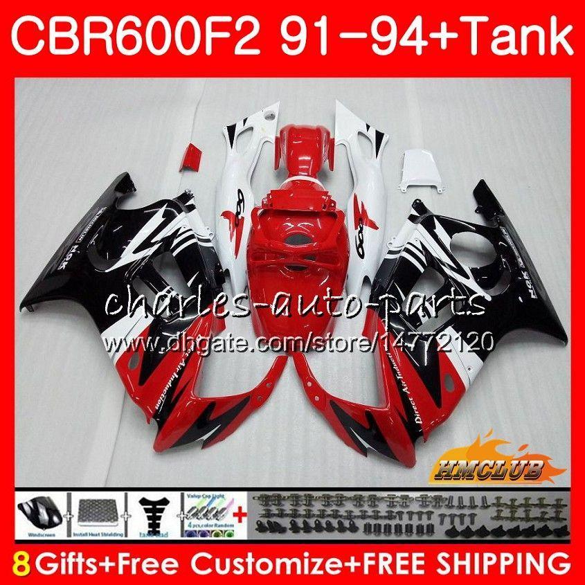 Кузов + бак для HONDA CBR 600F2 CBR600FS CBR 600 FS F2 91 92 93 94 40HC.151 600cc CBR600 F2 CBR600F2 1991 1992 1993 1994 Обтекатель красный белый