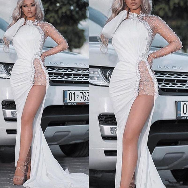 Сияющий бисером Side Split Пром платья Sexy Высокий Высокий Длинные рукава коктейль Pageant платья Поезд стреловидности Длинные Arabic вечернее платье