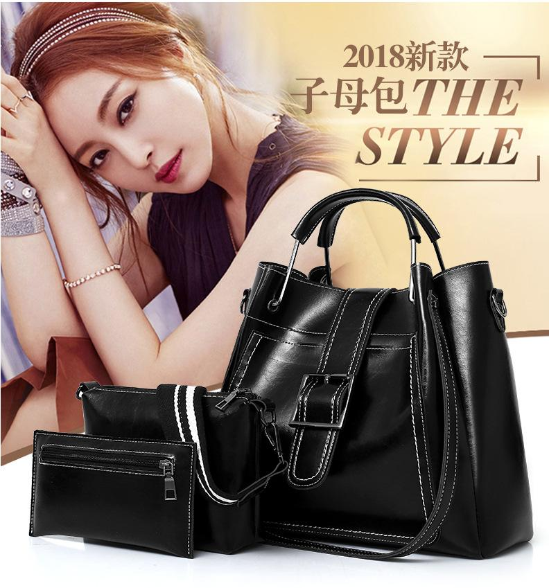 3pcs Oil Wax Leather Picture Package Womens 2020 New Three-Piece Korean-Style Crossbody Shoulder Bag
