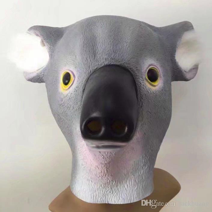 Cute Koala Deluxe Novità Costume di Halloween Party Animal Head Latex Mask