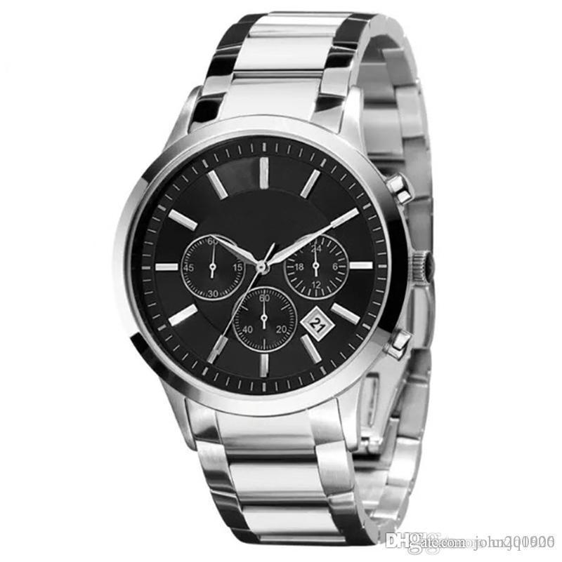 qualidade Mens clássico Aço Hot Selling Top de luxo relógio New inoxidável Negócios Relógio de pulso dos homens da forma parada Top Sport Watch Gift Box DropShip