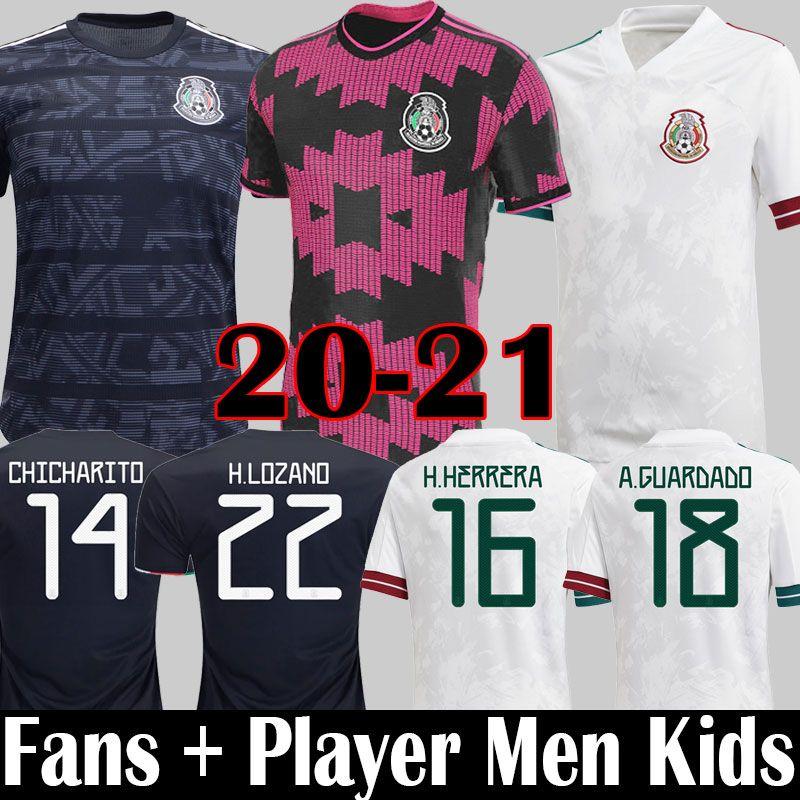2020 2021 México Futebol Jerseys Lozano Chicharito Rosa Versão Versão Camisas Futebol dos Santos México 20 21 Homens Crianças Jimenez Camiseta