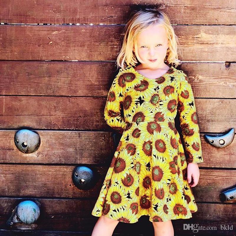 2019 طفل أزياء أطفال بنات الطفل زيبر ملابس عباد الشمس طباعة اللباس ربيع الخريف جديد كم طويل O-الرقبة الأطفال طفلة اللباس