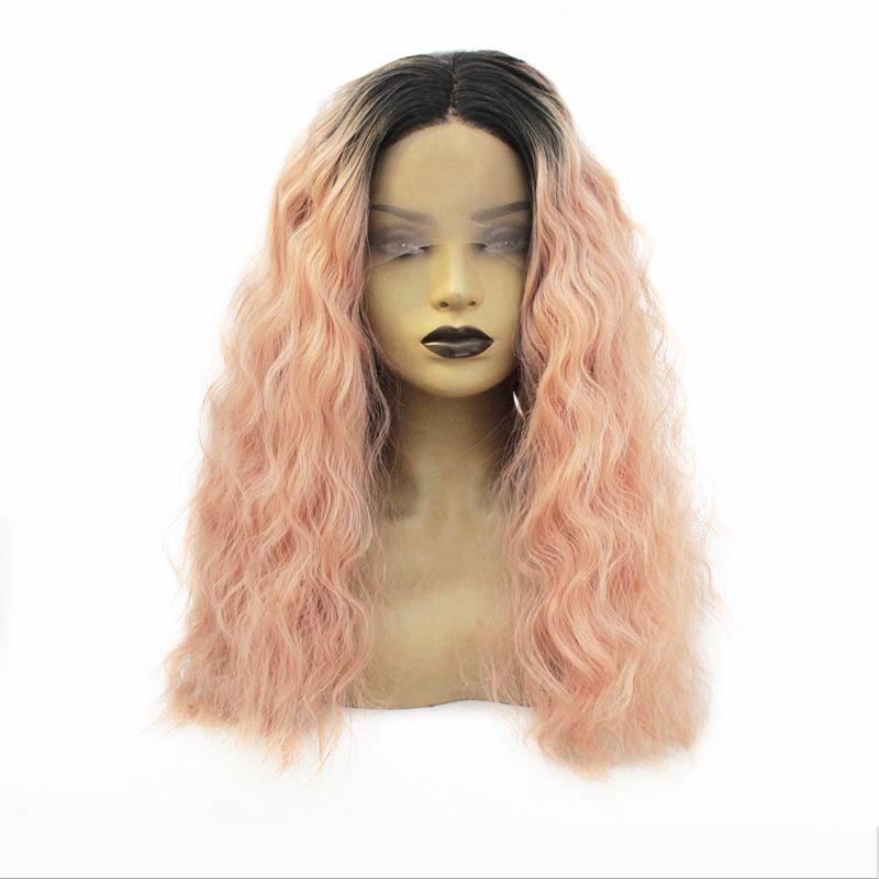 Frente Ombre rosado del cordón largo rizado ondulado del pelo resistente al calor peluca hermoso pelo sintético de la peluca de fibra para las mujeres
