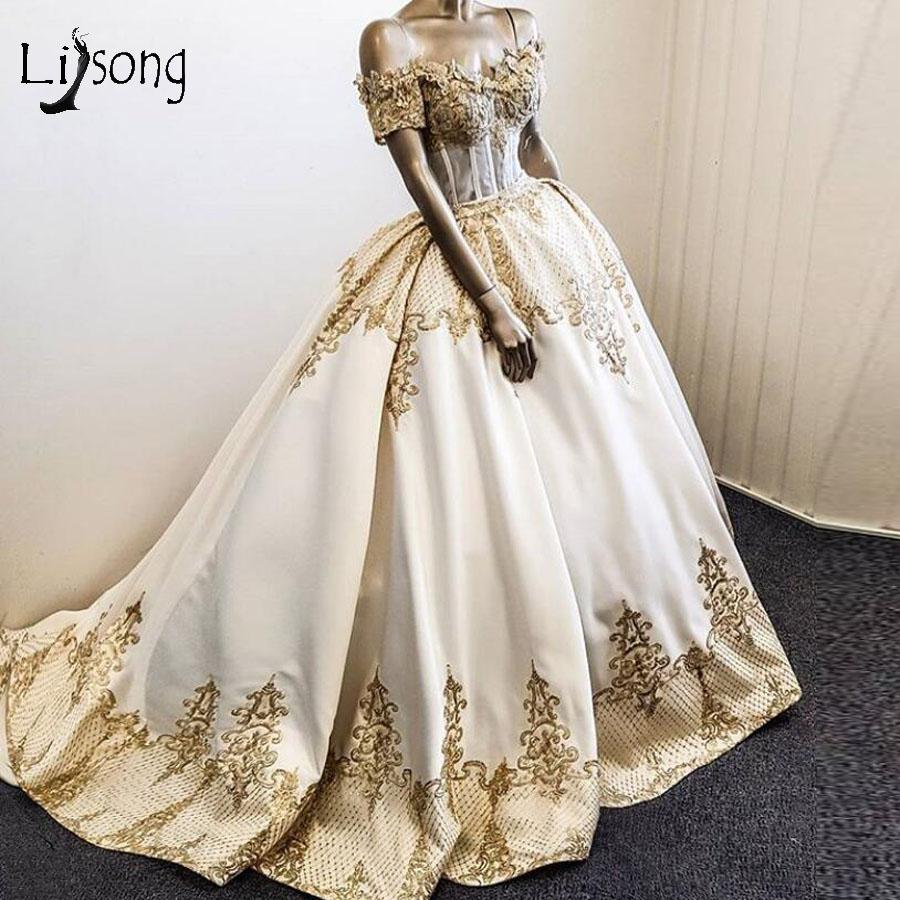 Real Picture Gold Appliques Ball Gown Wedding Dresses Off The