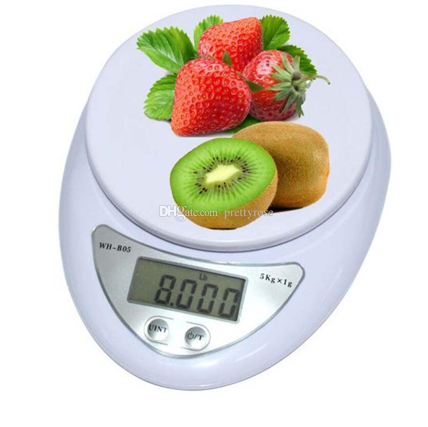 5 kg / 1 g 1 kg / 0.1 g Báscula digital portátil LED Básculas electrónicas Peso de medición de alimentos de cocina Básculas electrónicas LED de cocina con caja al por menor