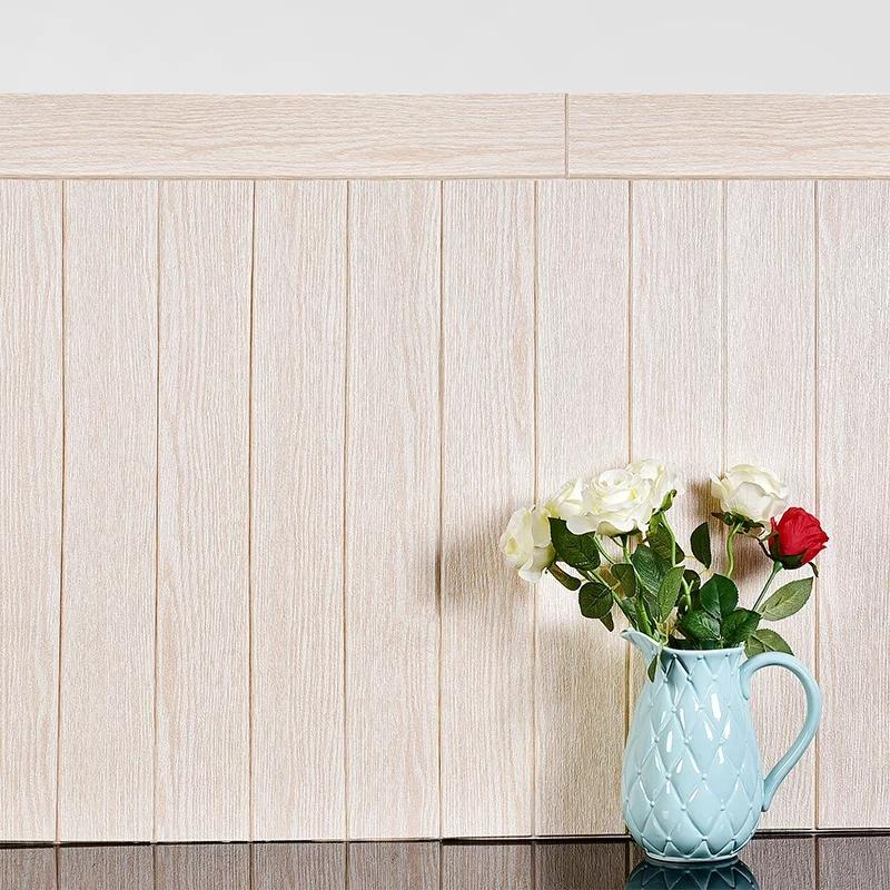 3D Wooden Wall Sticker Home Decor PE Foam Waterproof Wall Covering Self Adhesive Wallpaper For Living Room Bedroom 3D Panel