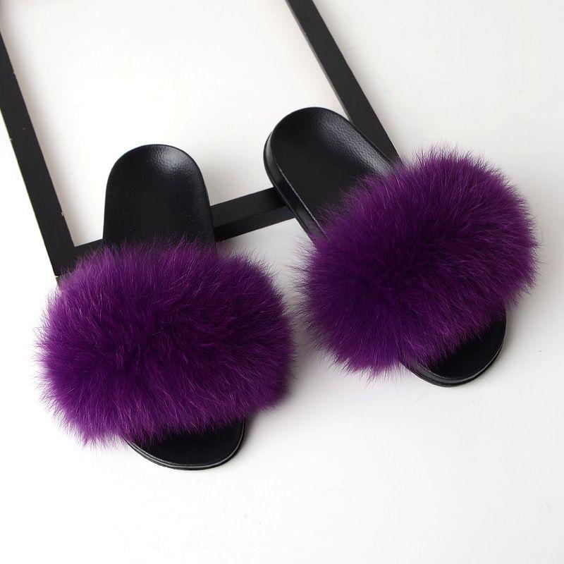 Women Fur Slippers Fox Fur Slides Fox Hair Flip Flops Fluffy Flat Furry House Slipper Woman Fur Sandals 2019 Brand Luxury Shoes