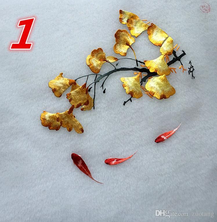 Çift taraflı el işi süslemeler için bitmiş resimler Çin Ipek Çanta İğne Desenler Fan Kostüm vb El 20 cm R Dekor Nakış Gber