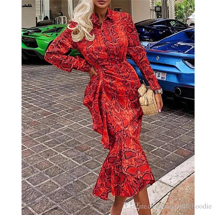 Nouveautés Femmes Designer imprimé serpent Robes à manches longues cou Mode sexy Lapel Bodycon Femme Vêtements Vêtements décontractés