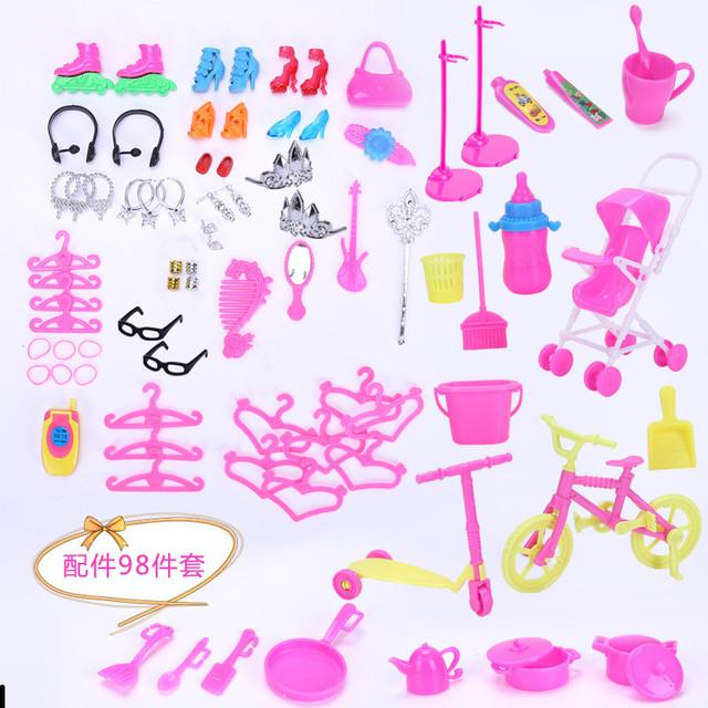Cute 11 Inches Barbie Doll 81 Accessories, Baby Carriage, Bicycle, Play House Prop, Crown Kitchen Utensils, Christmas Kid Birthday Gift, 2-1