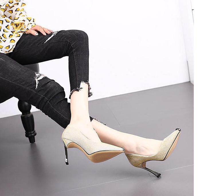 2020 весна и осень с новым стилем мода высокий каблук тонкий каблук острым концом женская ткань обувь @MQWBH378