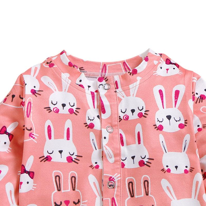 1Pc Baby Girl Spring And Autumn Long Sleeve Cartoon Rabbit Print Pattern Jumpsuit+Headband Cotton Causal Outfits Romper Set