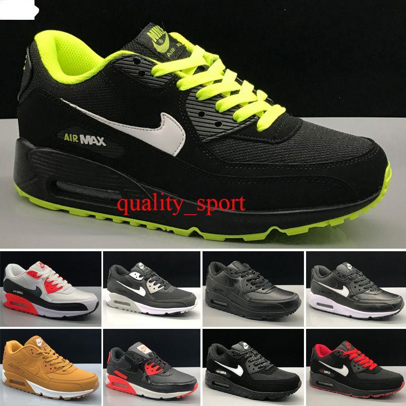 Nike air max 90 Hot vender clássico de 90 homens mulheres Running Shoes Black Red White Sports instrutor Air Cushion Superfície sapatos respirável Sports Xian