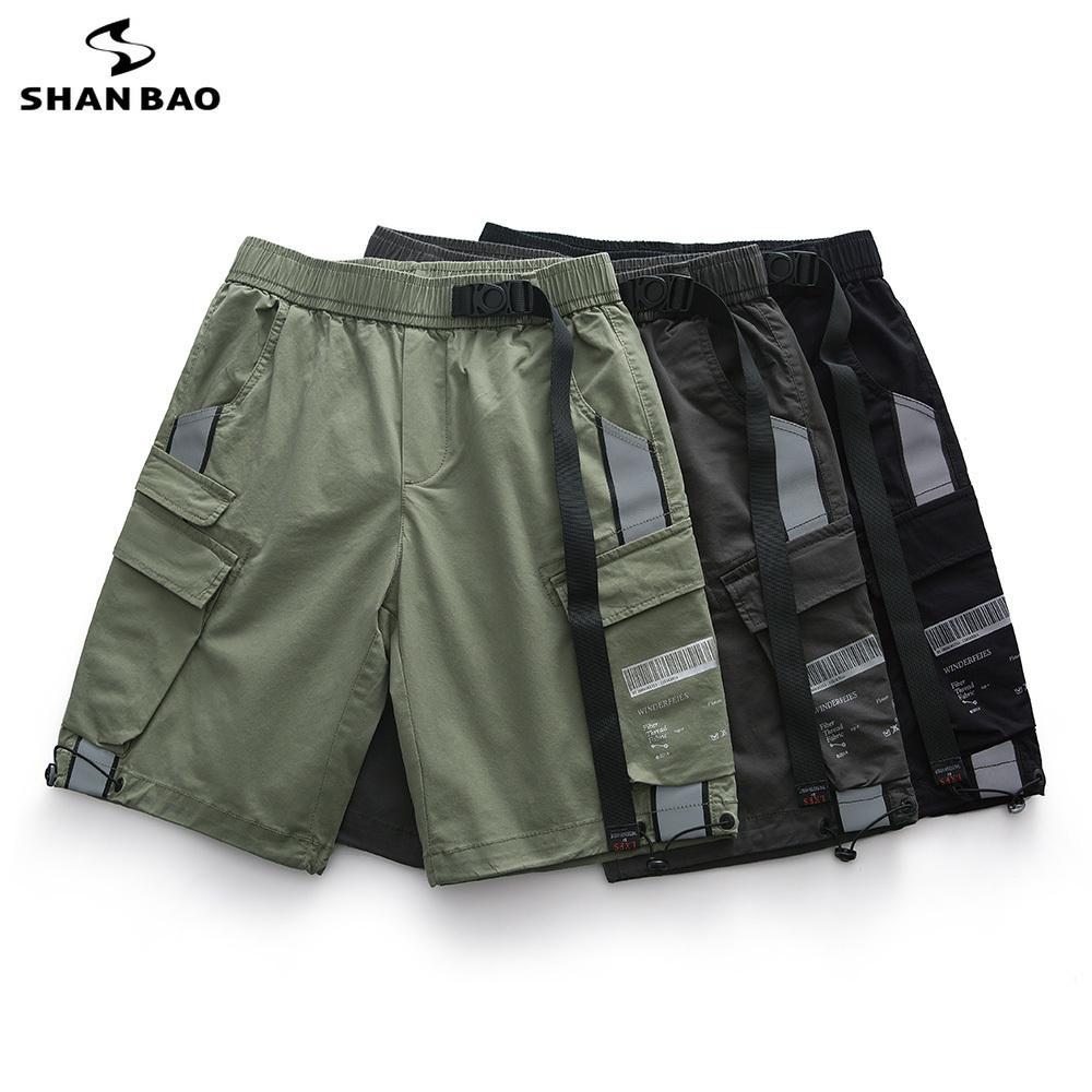 mágica faixa reflexiva fivela soltas calções casuais cintura elástica Verão 2020 roupas de marca tamanho grande calções elásticos de algodão T200422