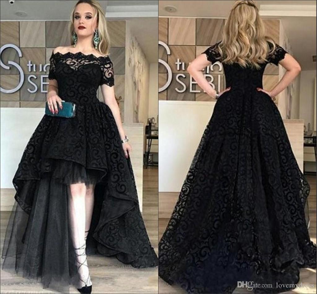Черное кружево Высокие низкие коктейльные вечерние платья долго 2020 с плеча с короткими рукавами платье выпускного вечера принцессы возвращения на родину платье выпускного вечера
