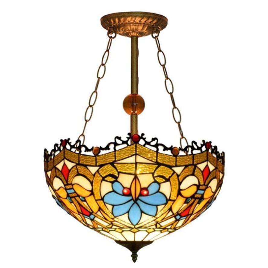 Tiffany kolye avize Avrupa Retro Vitray Kolye ışık Aşk Sanat avize ışıkları Oturma Odası Yemek Odası Lobi Bar
