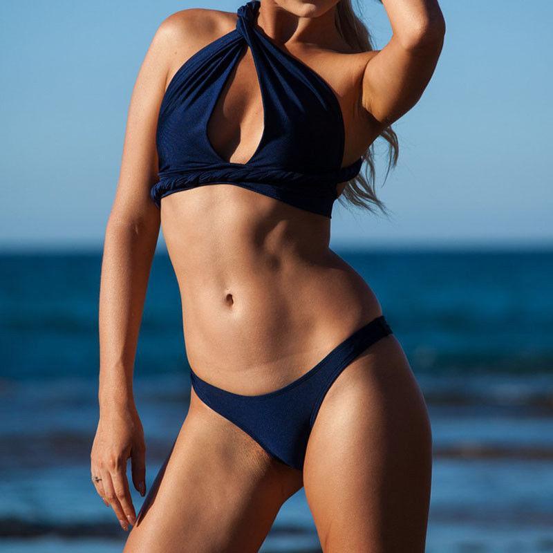 بدلة السباحة للمرأة الرسن مجموعة بيكيني البرازيلي دفع الهاتفي مبطن الاستحمام عادي ملابس أنثى ملابس السباحة Monokini ملابس السباحة