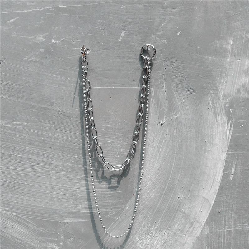 2 Layers Metal Beads Ring Rock Punk Key Chains Clip Hip Hop Jewelry Pants KeyChain Wallet Chain Waist Chains