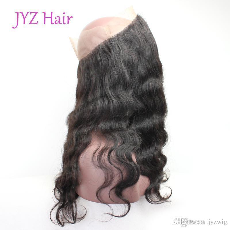 Onda do corpo Top 360 dianteira do laço do cabelo indiano Malásia brasileira peruana Virgem Natural Color Humano Extensões solto Aceno 1 Parte