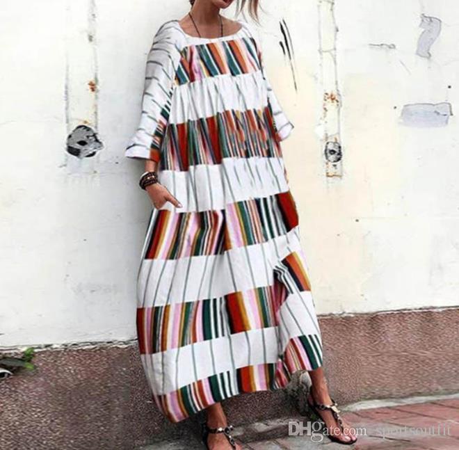 여성 의류 색상 스트립 긴면 드레스 새로운 캐주얼 거리의 멋쟁이 소매 야생 드레스 스커트