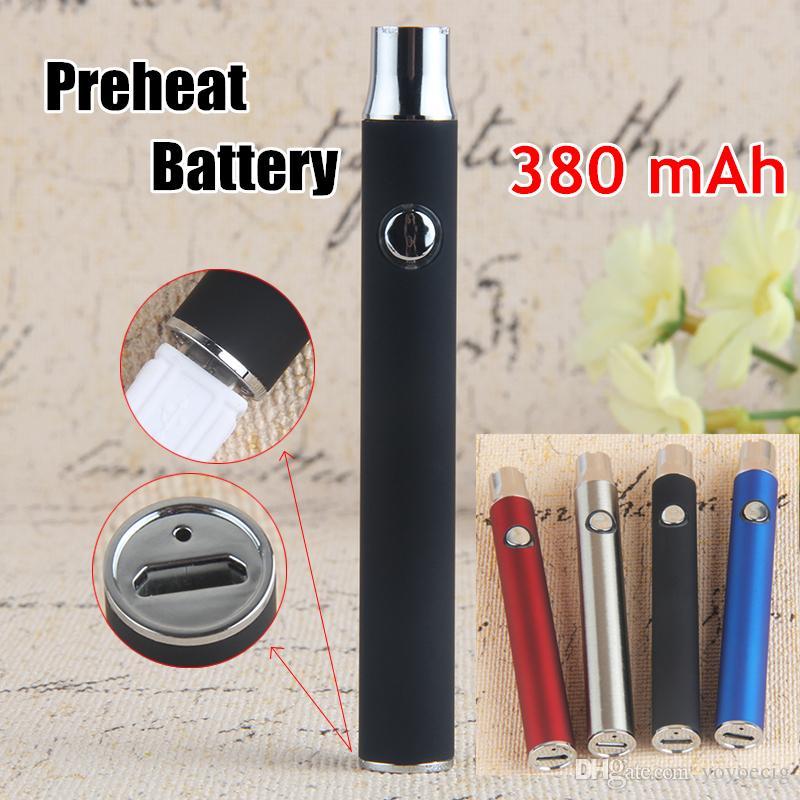 Sıcak eCig 510 Konu Buharlaştırıcı Pil EVOD Mikro USB Geçiş Ayarlanabilir Değişken Gerilim 380 mAh Ön Isıtma Alt Şarj Vape Kalem
