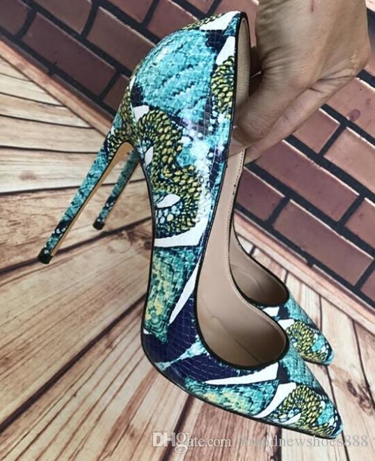 Italienische Mode Design Damen High Heel Pumps Snake Printed Party Hochzeit Stiletto Schuhe 12 cm Dünne Ferse
