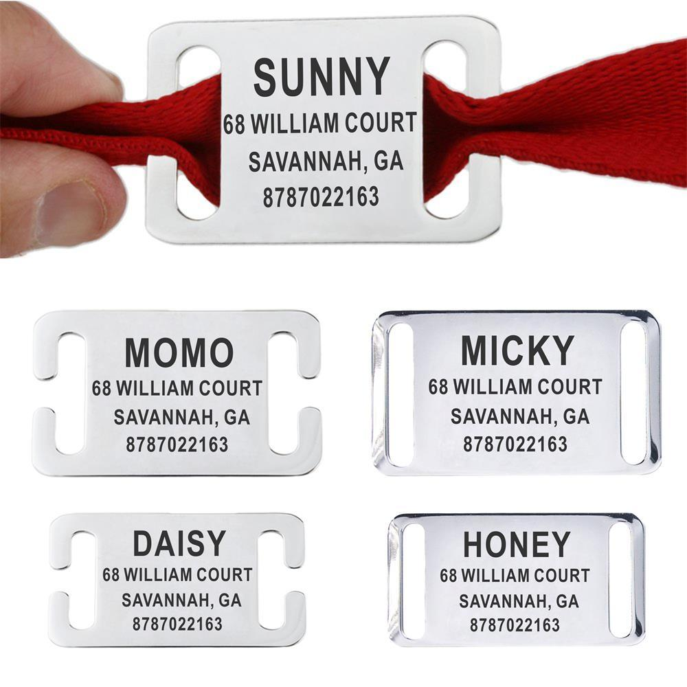 Personalizado Pet ID Tag Slide-on Gravada Stainless Steel Name Tags Collar Acessórios Pingente Cat Dog For