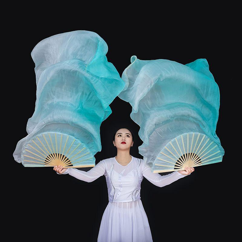 "New Arrival Customized Women Silk Belly Dance Fan Veils Peacock Vertical Gradient Light Dance Fan Pair 1.8mx0.9m (70""x35"")"