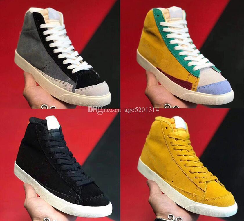 블레이져 미드 77 개 빈티지 스웨이드 스케이트 보드 신발 스웨이드 패션 스포츠 신발 회색 노란색 77 개 Zapatos 신발 남자 여자 빈티지 스케이트 운동화