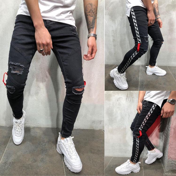 Preto dos homens do motociclista jeans rasgado Designer afligido Primavera-Verão Calças Lápis Casual Highstreet Hombres Jean Calças