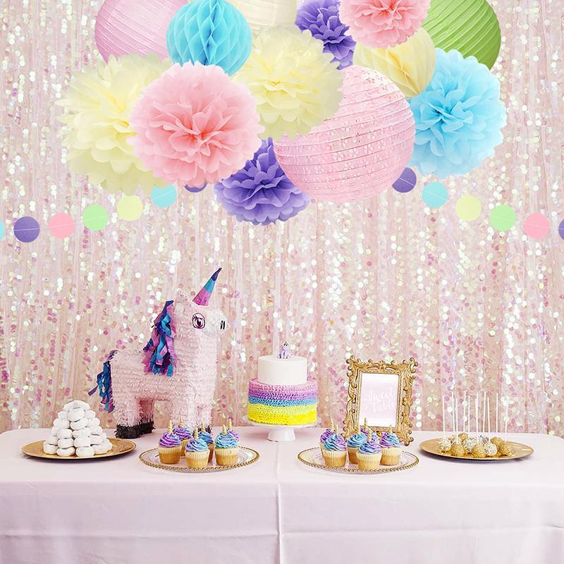 Düğün Doğum Çocuk SH190920 için Kağıt Petek Çiçek Fener Garland Asma NICRO 15pcs / set Parti Dekorasyon Macaron Krem rengi