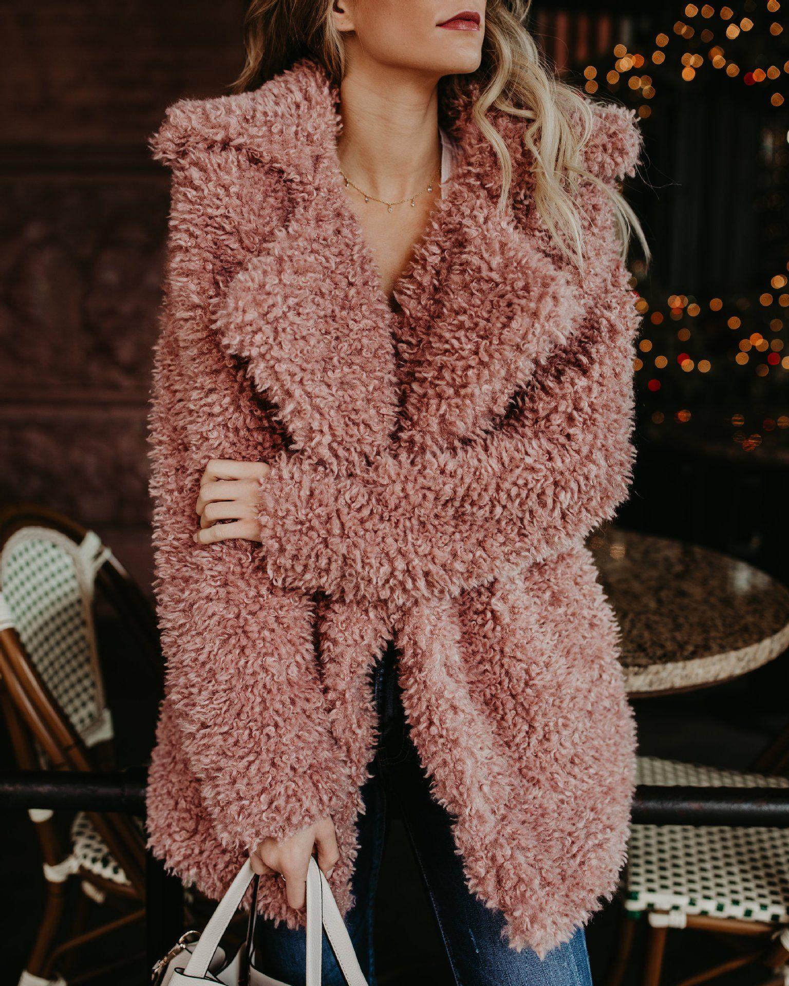 Women Winter Jacket Coat Faux Fur Bomber Jacket Teddy Coat Trench Wool Pink Overcoat Long Sleeve Hooded Outwear