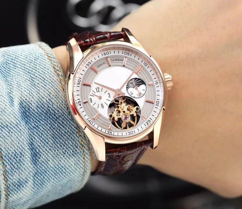 Престиж высокого класса 4-контактный мужские часы Многофункциональный Маховик механический нержавеющая сталь движение 316 корпус / ремешок Подлинная ремешок коровьей Miner